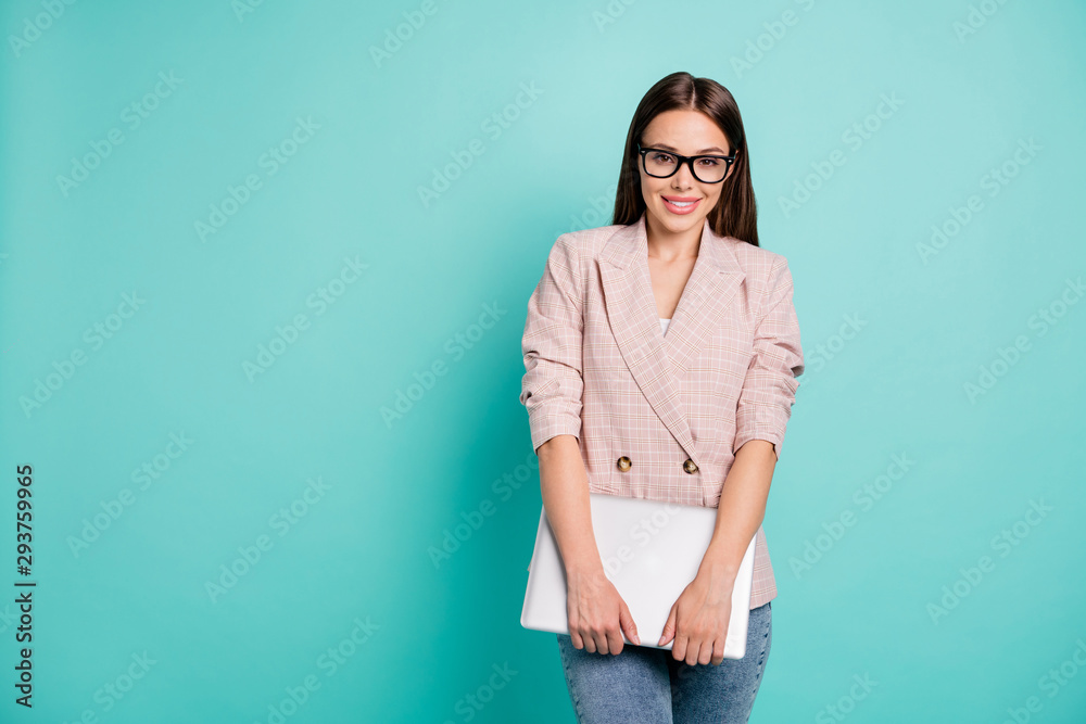 Fototapeta Portrait of nice attractive pretty fashionable lovely smart clever cheerful cheery straight-haired lady professor carrying laptop isolated over bright vivid shine blue green teal turquoise background