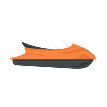 Ocean Jet Ski Icon. Flat Illus...