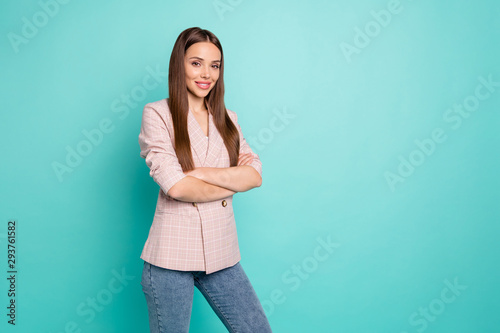 Fotografia  Portrait of her she nice-looking attractive lovely well-dressed pretty content s