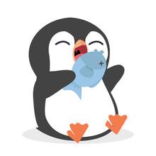 Cute Penguin Eating Fish Vector