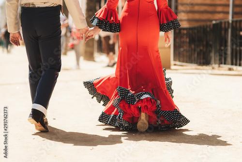 Fotografia andando agarrados de la mano en traje de baile