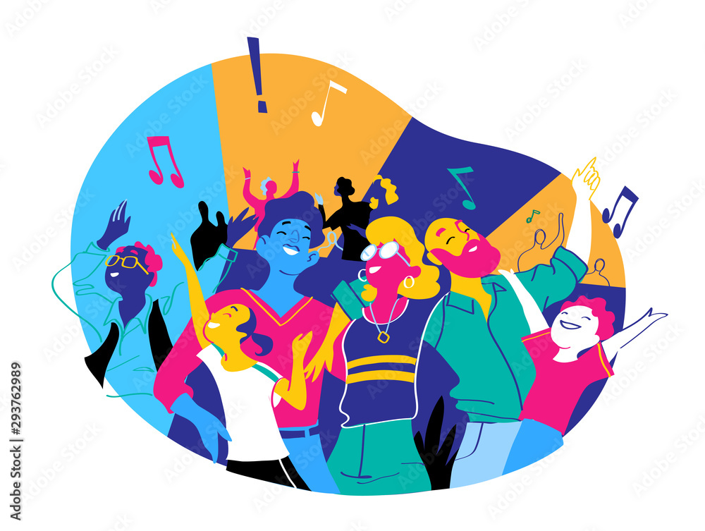 Fototapety, obrazy: Group of people of different ages is happy to be together dancing and celebrating a special event. Happy family enjoy concert, music festival, party, show, performance, recital. Vector illustration