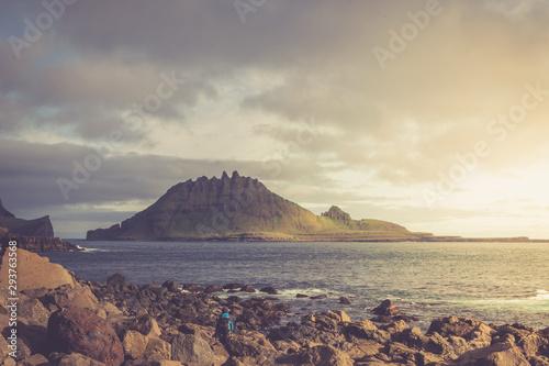 Fotobehang Noord Europa Dramatic landscape on Faroe Islands. The nature of the Faroe Islands in the north Atlantic/