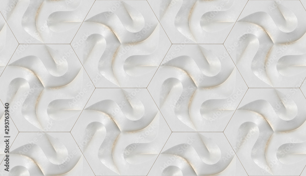 3D Wallpaper of white rough futuristic hexagon panels with gold frayed planes. High quality seamless realistic texture.