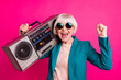 canvas print picture - Close-up portrait of her she nice attractive cheerful cheery glad gray-haired lady carrying boombox having fun time isolated on bright vivid shine vibrant pink fuchsia color background