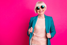 Portrait Of Her She Nice-looking Attractive Cheerful Cheery Gray-haired Lady Wearing Blue Green Jacket Enjoying Life Lifestyle Isolated On Bright Vivid Shine Vibrant Pink Fuchsia Color Background