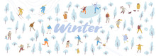 Winter Park With People Flat Vector Background. Crowd Of Happy People In Warm Clothes. Winter Outdoor Activities - Skating, Skiing, Throwing Snowballs, Building Snowman.