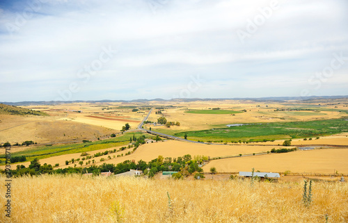 Panoramic view of the Guadiana River valley from the ruins of the castle of Alarcos in Ciudad Real Castilla la Mancha Spain