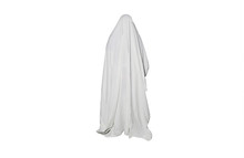 Ghost Outdoors Isolated On White Background. Halloween Costume Idea. Horror Film Concept. Scary Things. Autumn Feasts Of All Saints Eve.