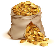Full Bag Of Gold Coins Burst. ...
