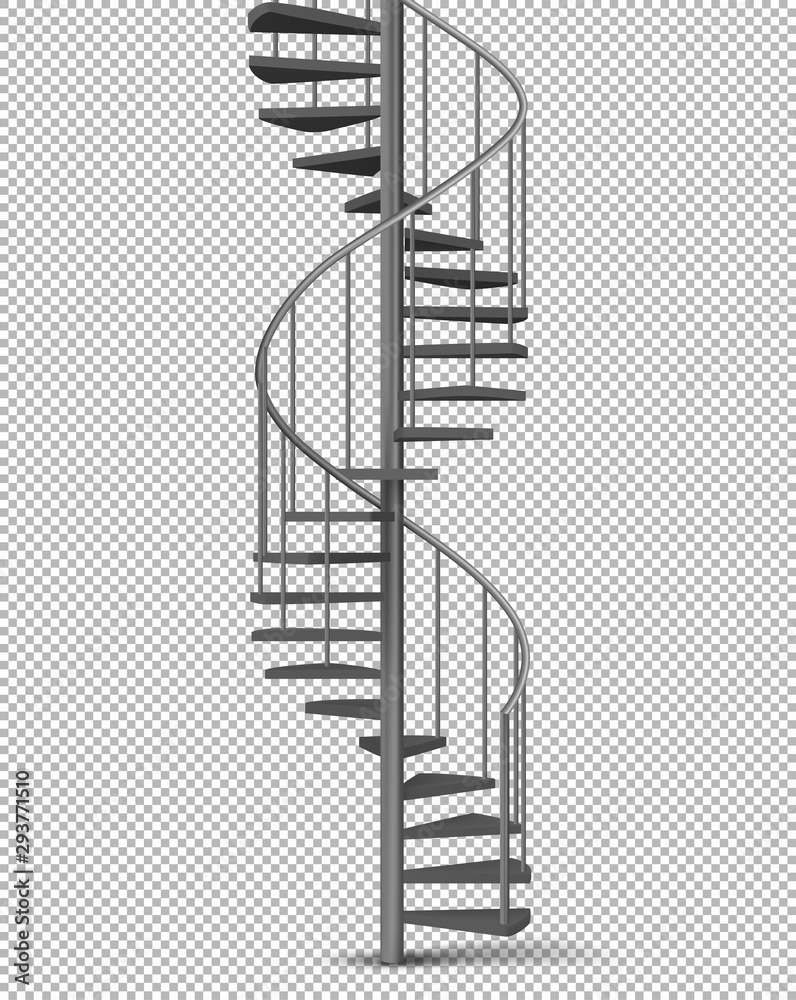 Fotografia Metal spiral, helical staircase on pillar with tube railings and wooden stairs 3d realistic vector illustration isolated on transparent background