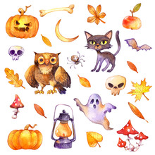 Skull, Pumpkin Lantern, Black Cat, Ghost, Spider, Owl, Bones, Mushrooms And Bat With Autumn Leaves. Cute Halloween Icons. Watercolor Illustration Collection Set, Isolated On White Background