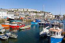 Mevagissey Harbour In Cornwall...