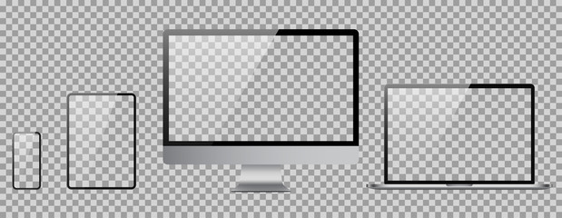 Set of computer, laptop, tablet and phone in realistic vector style.