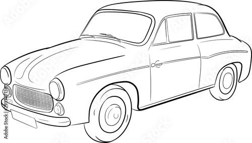 syrena, szkic, sketch, car, classic, polski klasyk, motoryzacja,prl, zabytek Fototapeta