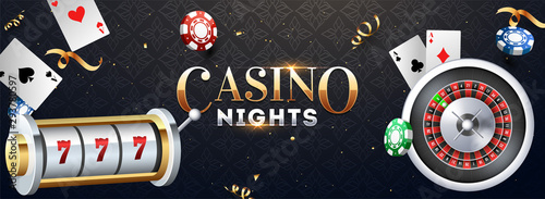 Fotografía Realistic slot machine with roulette wheel, casino chips and playing cards illustration on abstract background for Casino Night party banner design