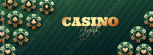 Foto Casino Night header or banner design with realistic casino chips on green strip background