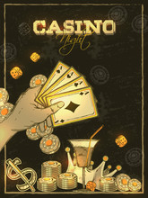 Retro Style Casino Night Invit...