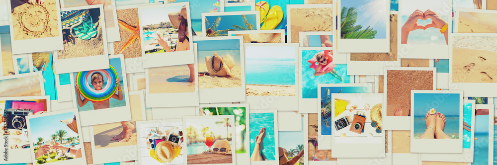 Fototapeta Travel concept collage. Sea vacation. Selective focus.