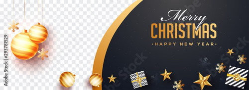 Top view of Merry Christmas and Happy New Year website banner design with gift boxes and stars and space for your product image.