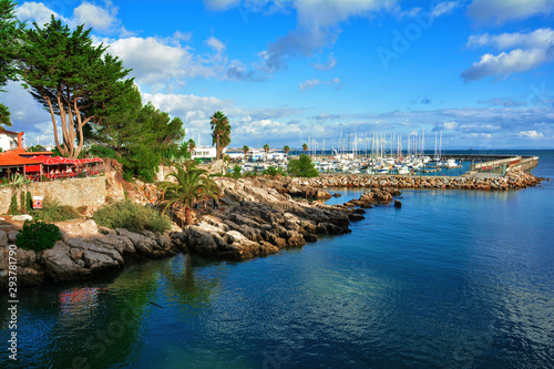 Beautiful panorama of Cascais seafront and port , coastal resort and fishing town in Portugal