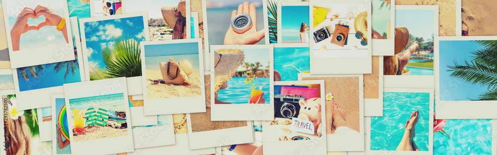 Fototapeta Travel concept collage. Sea vacation. Selective focus.