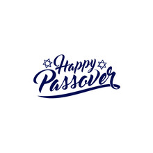 """Hand Written Lettering With Text """"Happy Passover"""" In Hebrew And English. Design Elements For Jewish Passover."""