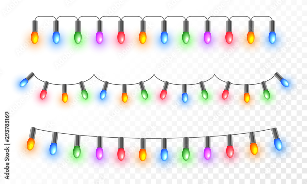 Fototapety, obrazy: Colorful illuminated lighting garlands on png background for festival celebration concept.