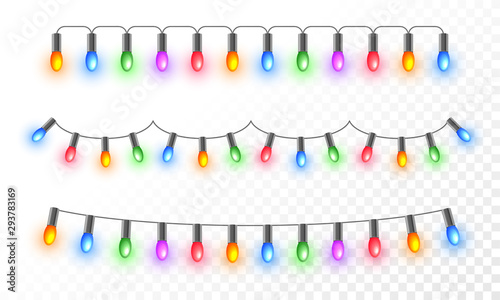 Obraz Colorful illuminated lighting garlands on png background for festival celebration concept. - fototapety do salonu
