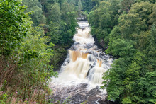 Corra Linn Waterfall In Full Spate On The River Clyde Near New Lanark, Scotland, UK.