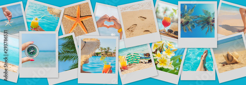 Fotografia, Obraz Travel concept collage. Sea vacation. Selective focus.