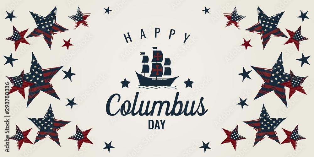 Fototapeta Columbus day card. vector illustration.