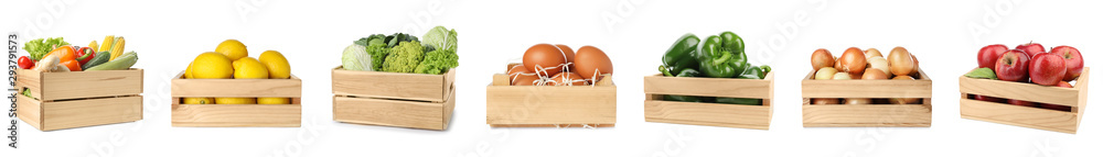 Fototapety, obrazy: Set of wooden crates with fruits, vegetables and eggs on white background
