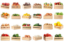 Set Of Wooden Crates With Diff...