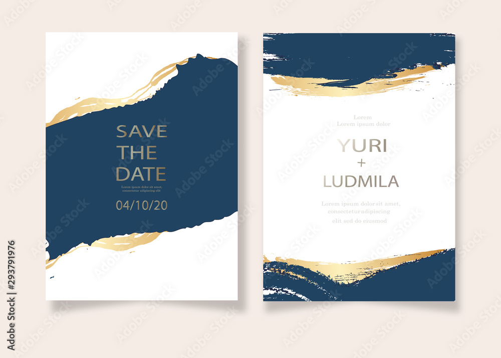 Fototapeta invitation cards with luxurious gold and dark blue marble background texture and abstract ocean style vector template for wedding, new year, events.