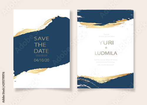 Fotomural invitation cards with luxurious gold and dark blue marble background texture and abstract ocean style vector template for wedding, new year, events