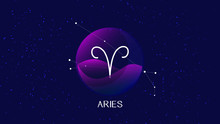 Aries Sign, Zodiac Background....