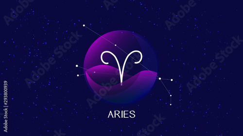 Photo Aries sign, zodiac background