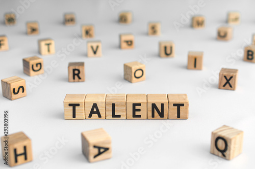 Pays d Asie Talent - word from wooden blocks with letters, to be good at something aptitude or skill talent concept, random letters around, white background