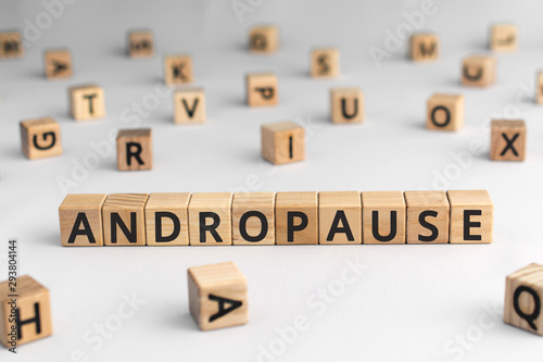 Andropause - word from wooden blocks with letters, symptoms middle-aged men test Wallpaper Mural