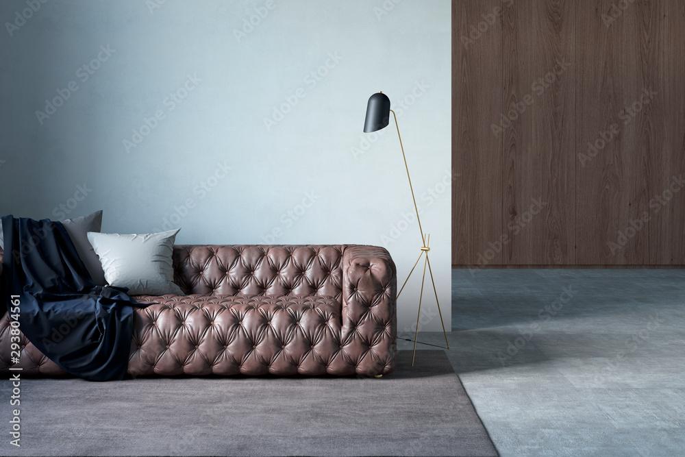 Fototapeta Modern living room with leather sofa, white wall, pillows, plaid, lamp, rug, and tiled floor. 3d illustration