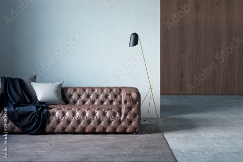 Fotografija  Modern living room with leather sofa, white wall, pillows, plaid, lamp, rug, and tiled floor