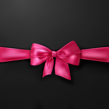 Vector Pink Bow On Black Background