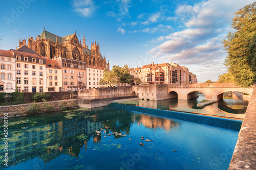 Garden Poster Old building Cityscape scenic view of Saint Stephen Cathedrla in Metz city at sunrise. Travel landmarks and tourist destination in France