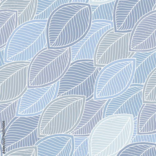 Türaufkleber Künstlich Hand-drawn leaves in doodle style seamless pattern.