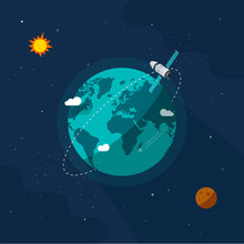 Earth Satellite In Outer Space Vector Illustration, Flat Cartoon Space Ship Flying Around Planet World On Solar System Universe, Moon, Stars, Orbit Station Flight In Cosmos Or Universe Image