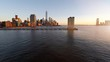 city business district. modern skyline cityscape. aerial view. shot on red epic