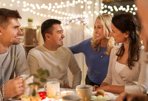Fototapety, obrazy: celebration, holidays and people concept - happy family or friends having tea party at home