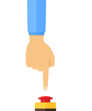 Hand In Blue Jacket Pushing Or Pressing The Big Mushroom Emergency Stop Push Button Switch Station Red Button. Side View. Flat Style Vector Concept Illustration Isolated On White Background.