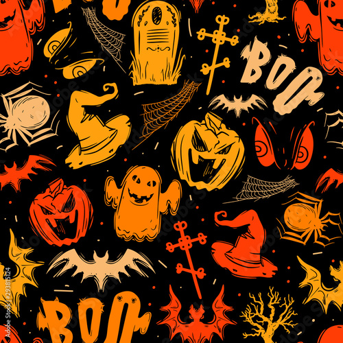 Photo  Abstract seamless halloween pattern for girls, boys, clothes
